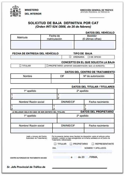ejemplo de formulario para dar de baja mi vehiculo